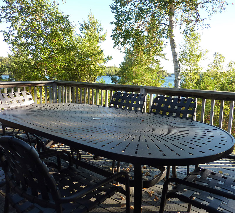 Ely MN Cabins-Shifting Pine Sundeck Dining-River Point Resort-Birch Lake