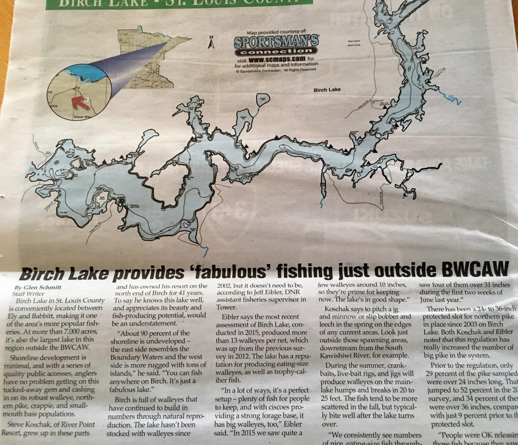 Outdoor News-Minnesota Walleye Fishing Resorts-River Point Resort-Birch Lake-Ely
