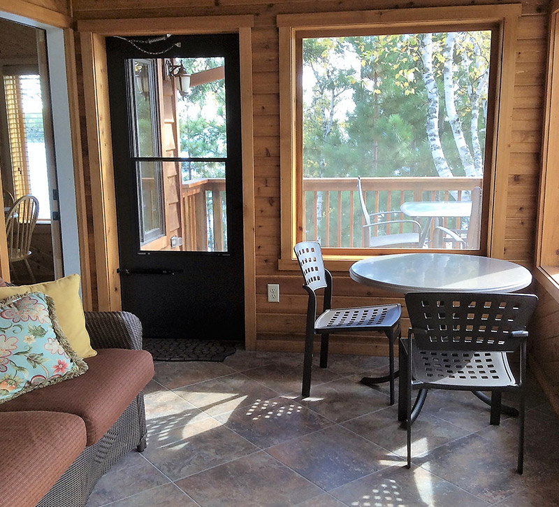 Ely MN Cabin Rentals-The Point Cabin Screen Porch-River Point Resort
