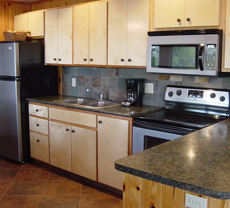 Minnesota Vacation Home Cabins-Secluded Shores Cabin Kitchen-River Point