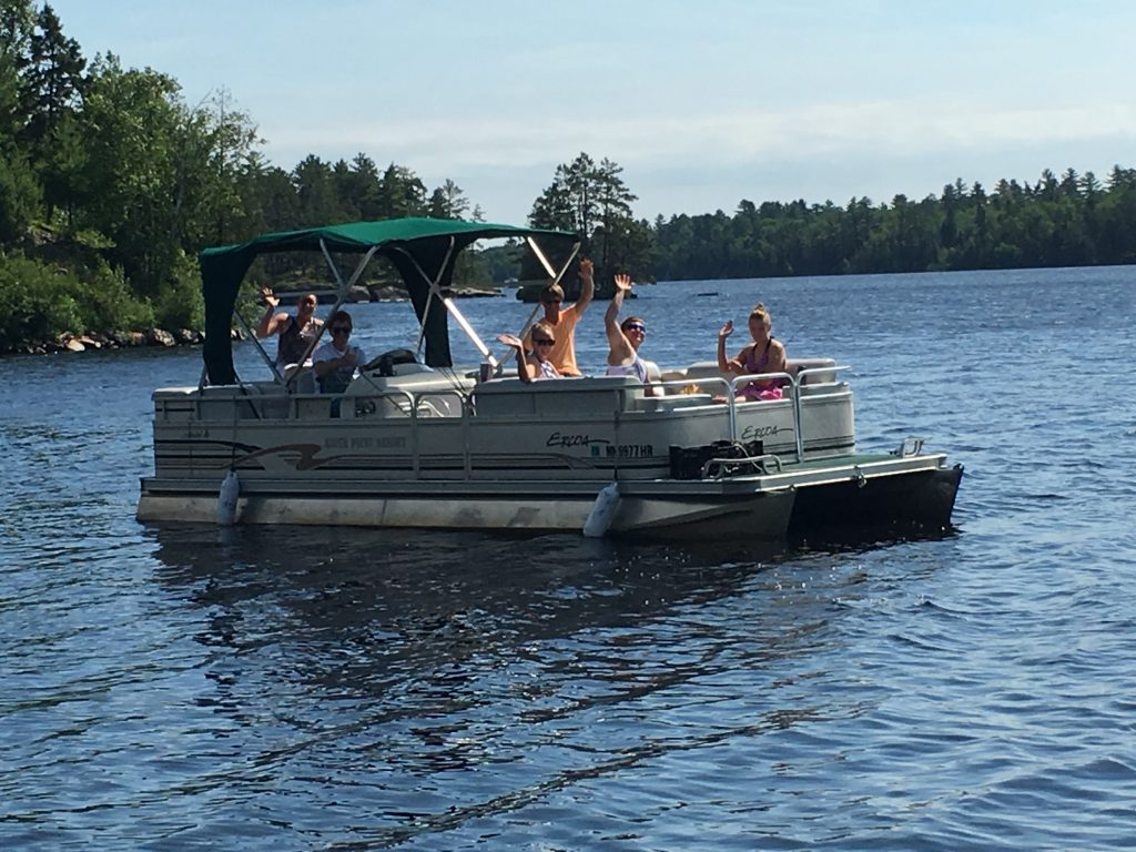 Ely MN Vacation Home Rentals-Pontoon Boat Fun-River Point Resort-Birch Lake