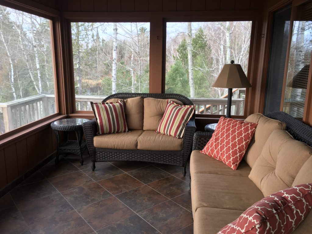 Minnesota Vacation Home Cabins-River Point Resort-Ely Minnesota Cabins Screen Porch
