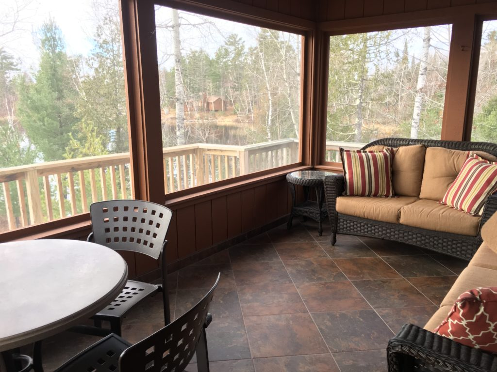 Ely Minnesota Vacation Home Rentals-Ely MN Cabins-Screen Porch-River Point Resort